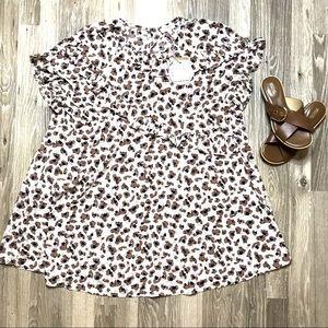 NWT Umgee Cheetah Oversized Ruffle Top